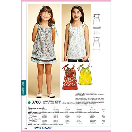 Kwik Sew Pattern Dress and Tunic, XS (4, 5), S (6), M (7, 8), L (10), XL (12)