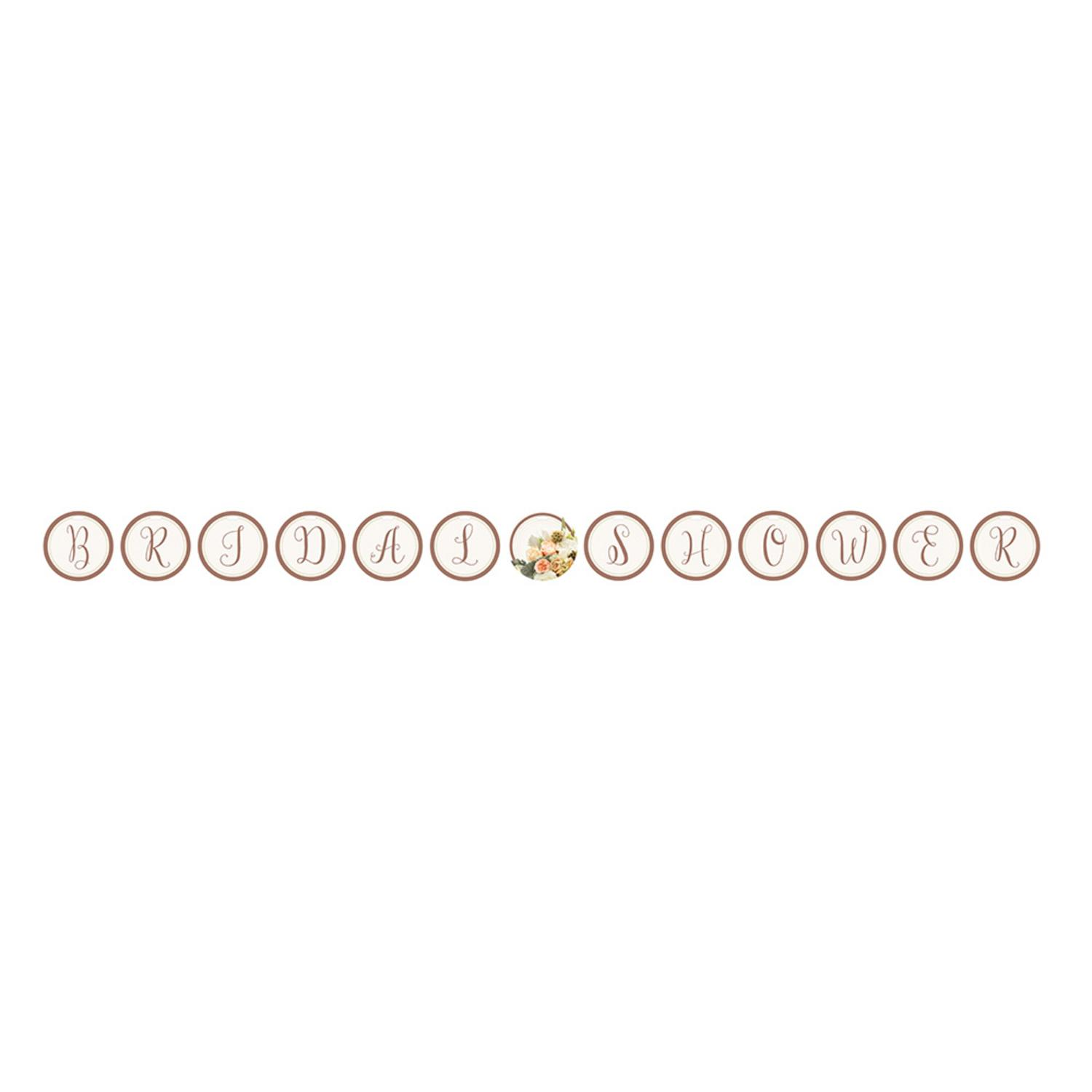 "Pack of 6 Rose Gold Bouquet ""Bridal Shower"" Circle Ribbon..."