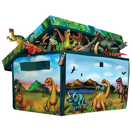 - ZipBin 160 Dinosaur Collector Toy Box & Play set w/2 Dinosaurs