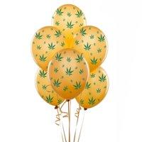 Marijuana Balloons 11in Premium Gold with All-Over print green Marijuana Leaves Pkg/12