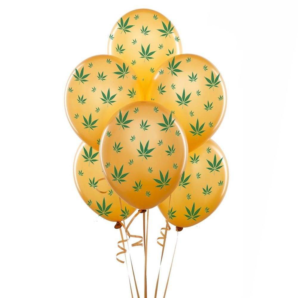 Marijuana Balloons 11in Premium Blue with All-Over print green Marijuana Leaves Pkg/25