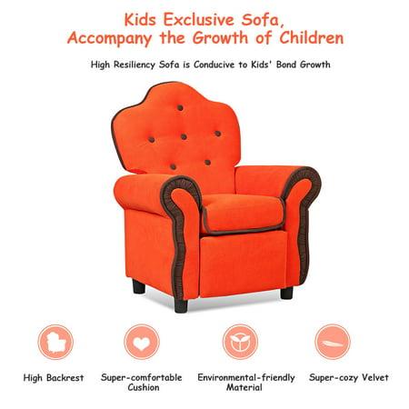 Children Recliner Kids Sofa Chair Couch Living Room Furniture Orange - image 2 de 9