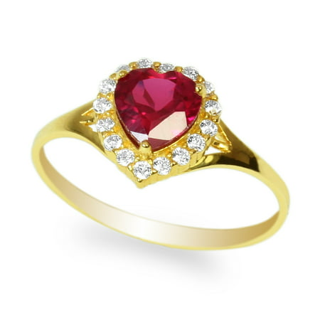 Ladies 10K Yellow Gold Stylish Halo Solitaire Ring with 0.8ct Heart Red CZ Size (Stylish Cubic Zirconia Ring)