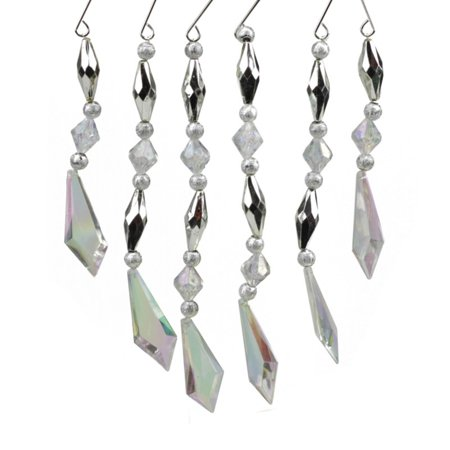 St. Nicks Choice 7 in. Diamond Faceted Jewel Christmas Dangle Ornament - Set of - Faceted White Topaz Gem