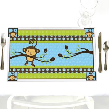 Monkey Baby Shower Decorations (Monkey Boy - Party Table Decorations - Baby Shower or Birthday Party Placemats - Set of)