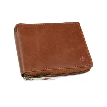 - Alpine Swiss RFID Blocking Mens Leather Wallet Zip Around ID Card Window Bifold