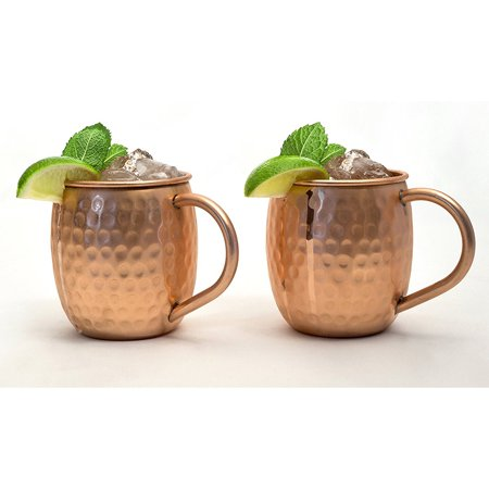 Set of 2 Modern Home Authentic 100% Solid Copper Hammered Moscow Mule Mug - Handmade in