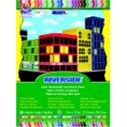 Riverside 9 x 12 inch Groundwood Pulp Heavy Weight Recycled Construction Paper, Assorted Color, Pack - 50
