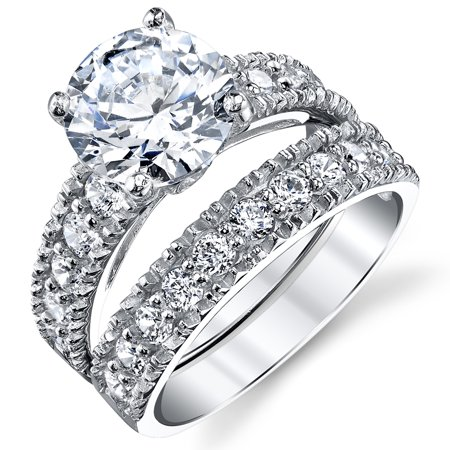 Cubic Zirconia Silver Wedding Ring - Sterling Silver Cubic Zirconia 3.10 Carat CTW Round Cut CZ Wedding Engagement Ring Set