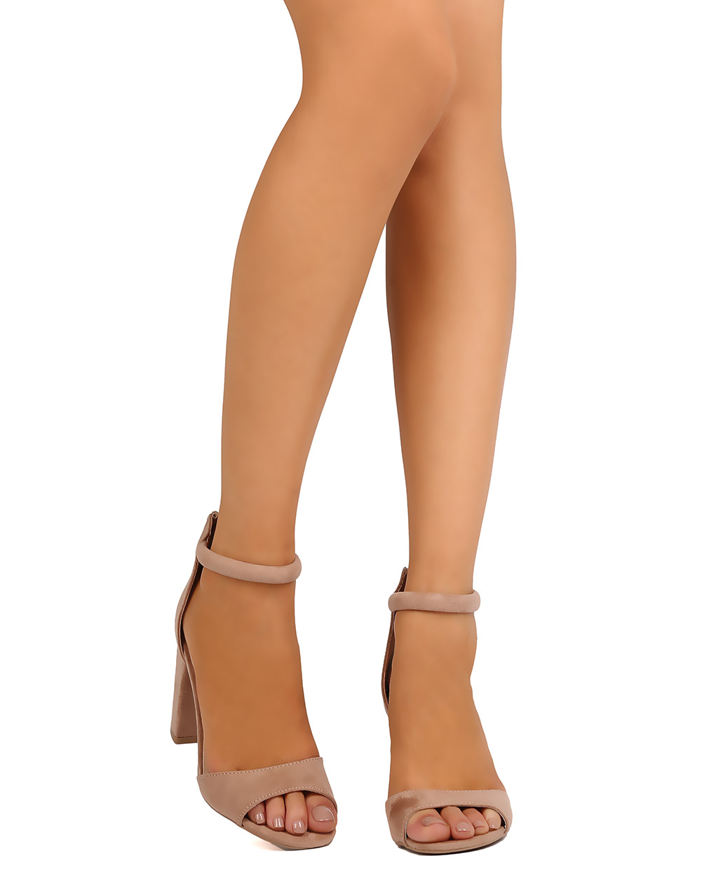 New Women Qupid Chester-11 Faux Suede Peep Toe Lace up Chunky Heel