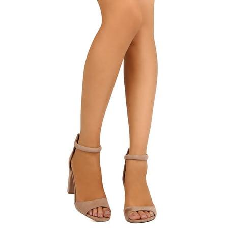 36c832beef54 Qupid - New Women Qupid Chester-12 Faux Suede Peep Toe Ankle Strap Block  Heel Sandal - Walmart.com