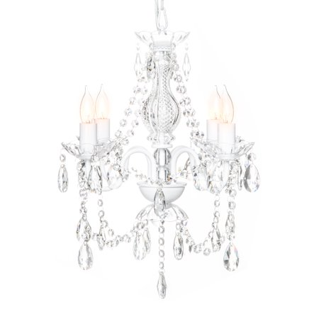 Best Choice Products Elegant Acrylic Crystal Chandelier Ceiling Light Fixture for Dining Room, Foyer, Bedroom - White 5 Light Pinecone Chandelier