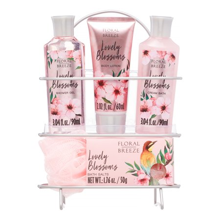 Floral Breeze 6-Piece Lovely Blossoms Bath and Body Gift Set with Shower Caddy