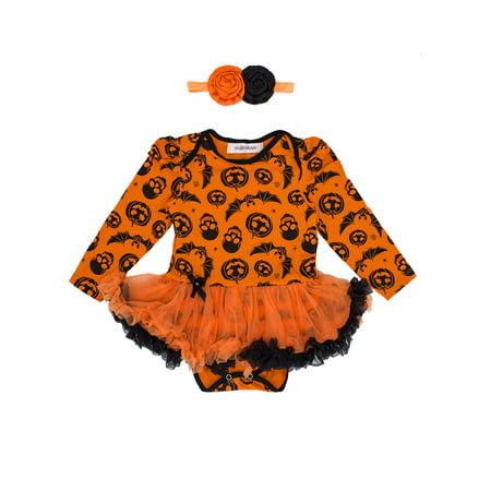 StylesILove Infant Baby Girl Halloween Long Sleeve Cotton Romper Tutu Party Dress and Headband 2 pcs Outfit Set (L/6-12 Months, Orange)