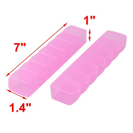 Travel Number Print Rectangle 7 Compartments Pills Storage Box Case Fuchsia 2pcs - image 1 of 4