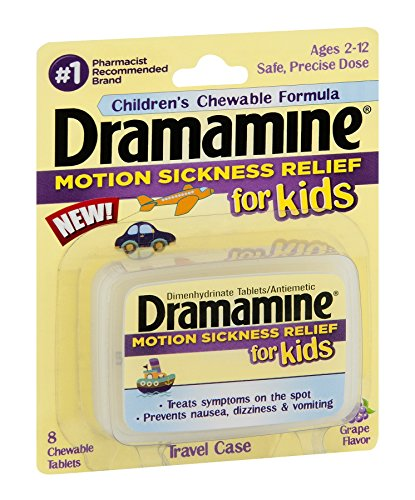 Dramamine Motion Sickness Relief for Kids, Grape Flavor, 8 Count (Pack of 12)