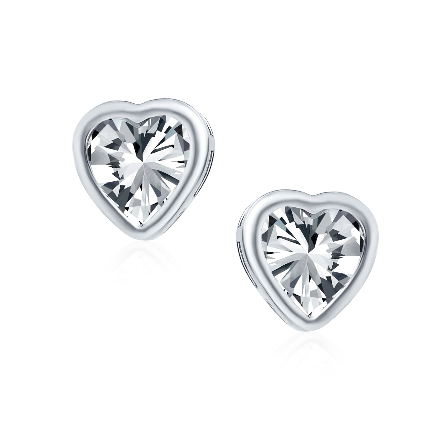 1CT Bezel Set Heart Shape AAA CZ Solitaire Stud Earrings For Women For Teen Rose Gold Plated 925 Sterling Silver 7MM