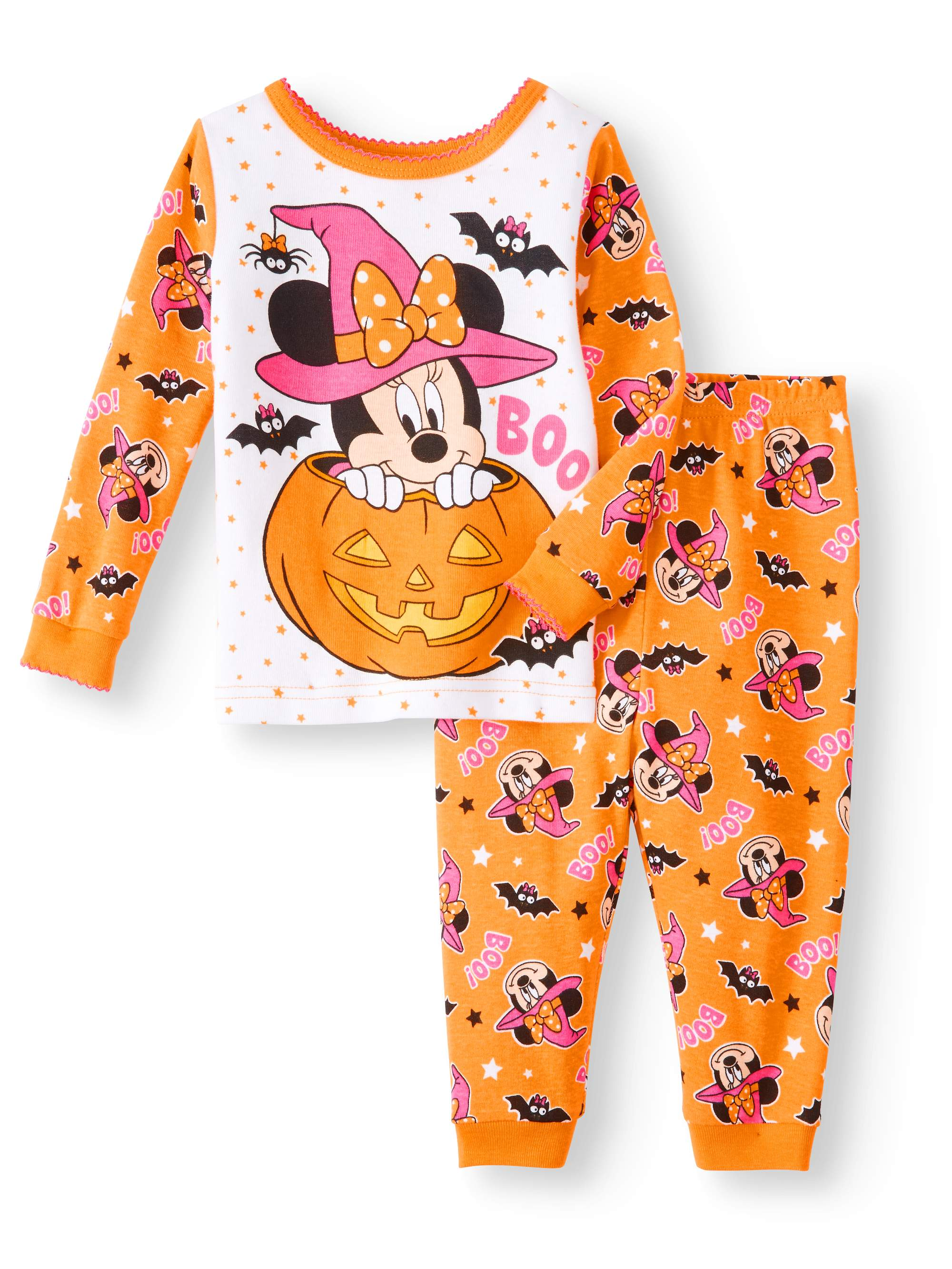 Mickey Mouse Halloween Glow-in-The-Dark Cotton Tight Fit Pajamas 2-Piece Set