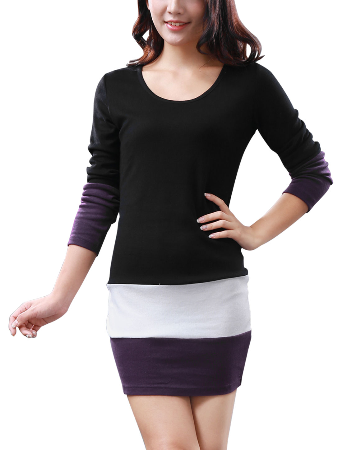 Women's Juniors Spring Scoop Neck Stretchy Pullover Long Shirt