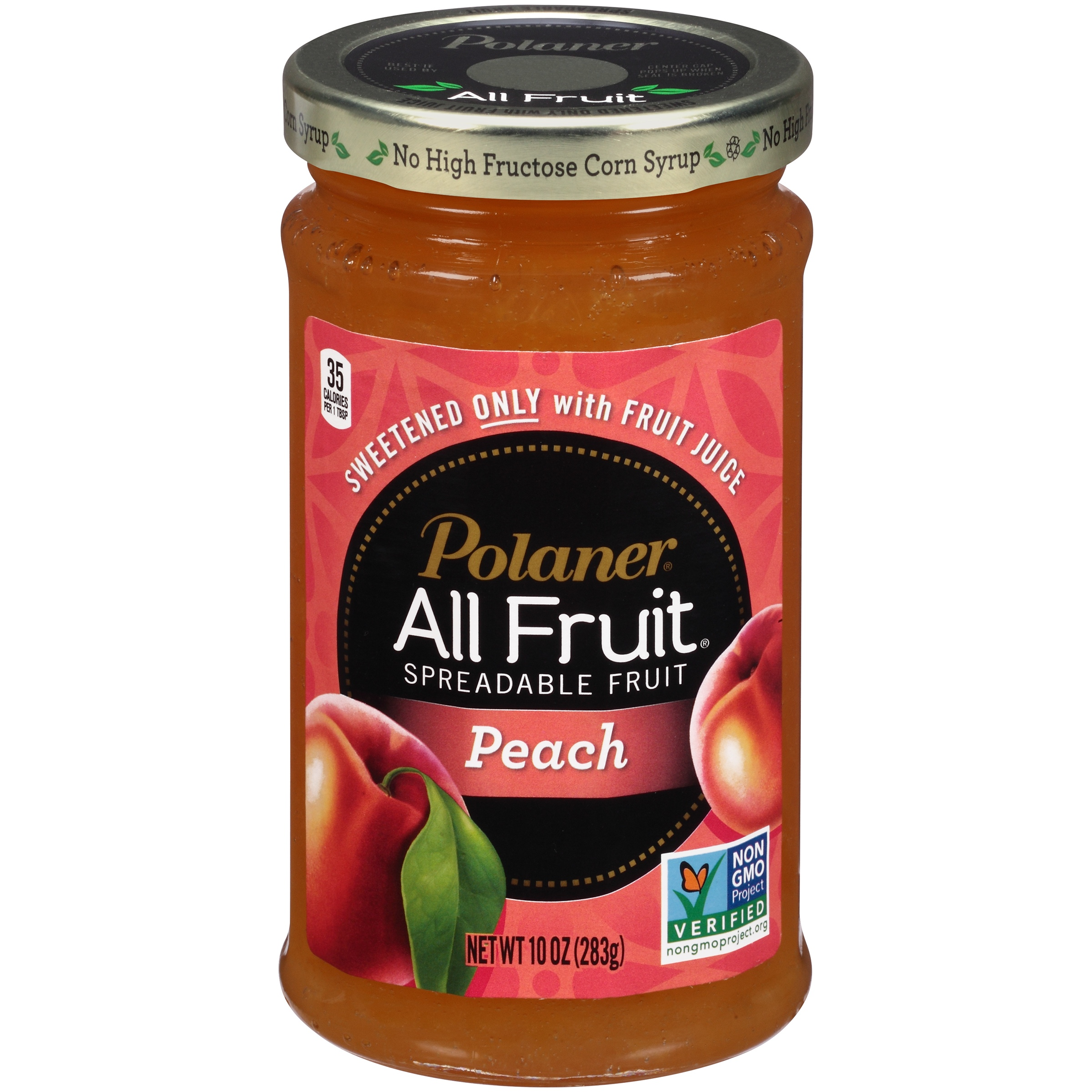 (4 Pack) Polaner All Fruit Peach Spreadable Fruit, 10 oz