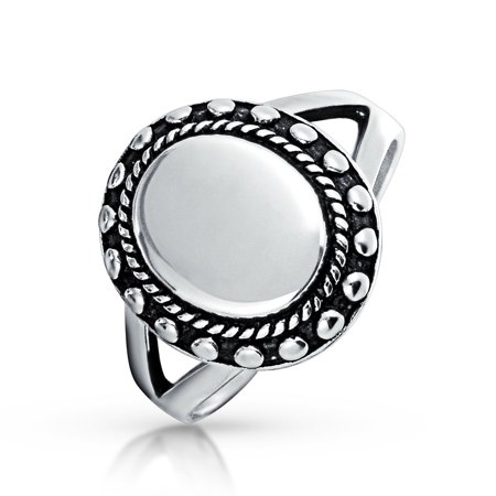 Beaded Halo Monogram Engravable 925 Sterling Silver Oval Signet Ring For Women For Teen Split Shank Band - image 2 de 5