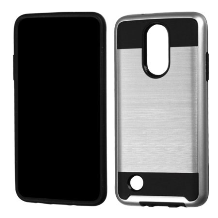 ASMYNA Hard Hybrid TPU Case For LG Aristo / LG LV3 - Silver/Black - image 2 of 2