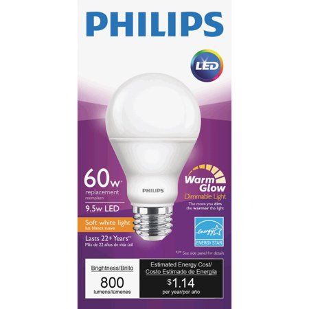 philips warm glow a19 medium dimmable led light bulb. Black Bedroom Furniture Sets. Home Design Ideas