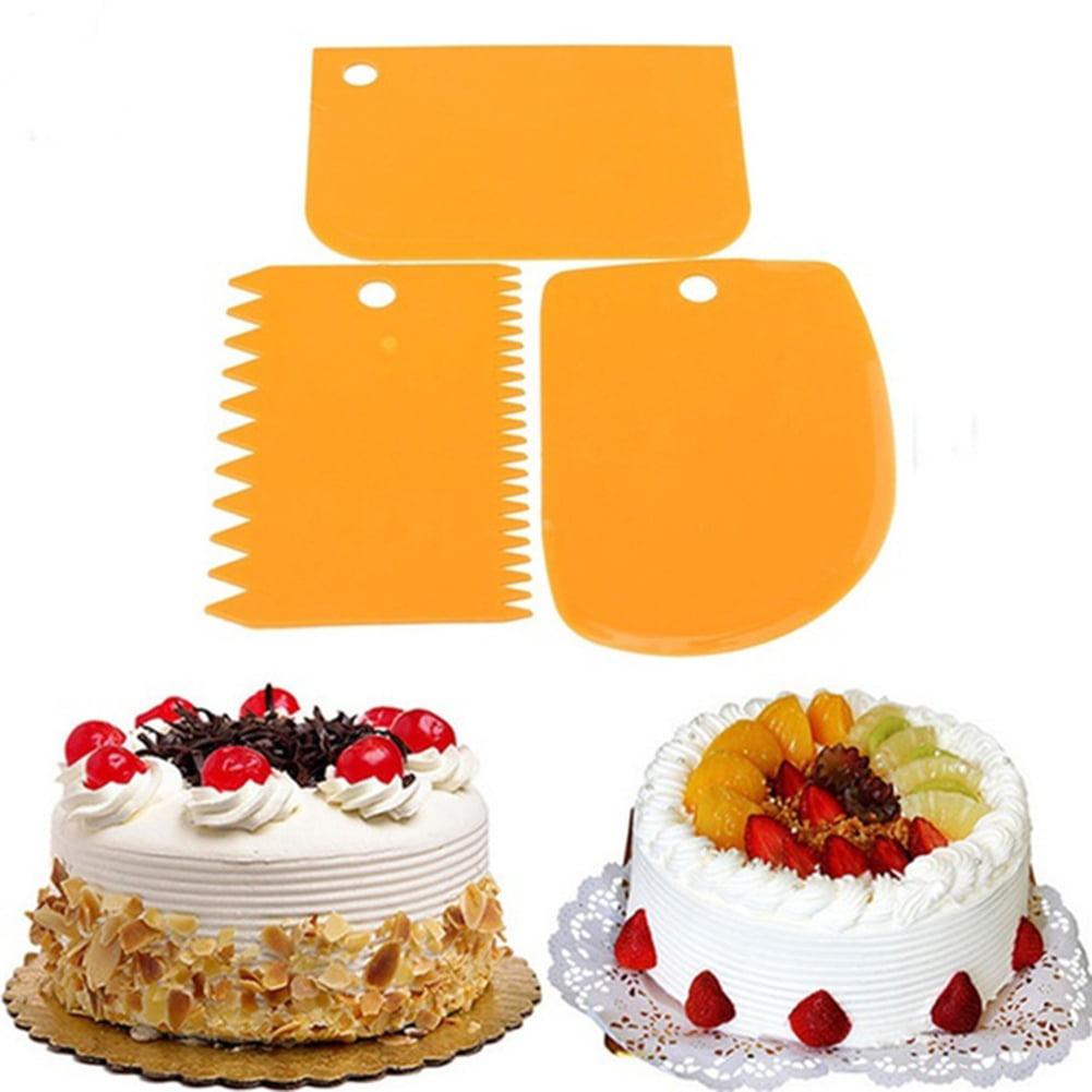 3 Pcs Set Plastic Pastry Dough Icing Fondant Cake Scraper Decorating Baking Tool by
