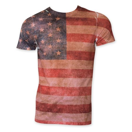 American Flag Faded Sublimation Print Tee Shirt
