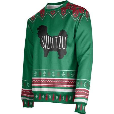 ProSphere Men's Shih Tzu (Green) Ugly Holiday Festive Sweater (Apparel) ()