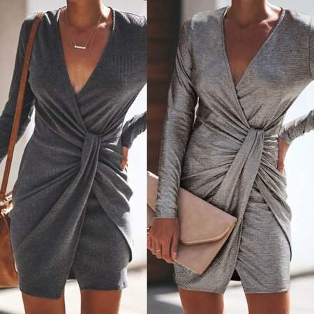 Womens Dress V Neck Night Club Party Bodycon Sexy Knitting Sweater Long Sleeve Tops Fashion New Casual Dresses