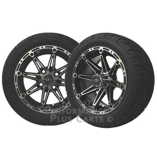 Element 12x6 Black & Machined Golf Cart Wheels with Low Profile Street Tires-Set