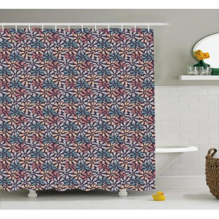 Shells Shower Curtain Soft Pastel Colored Print Pattern Of Seashells Auger Fighting Conch And Kings