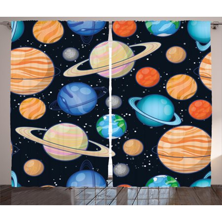 Galaxy Curtains 2 Panels Set, Cute Galaxy Space Art Solar System Planets Mars Mercury Uranus Jupiter Venus Kids Print, Window Drapes for Living Room Bedroom, 108W X 90L Inches, Multi, by