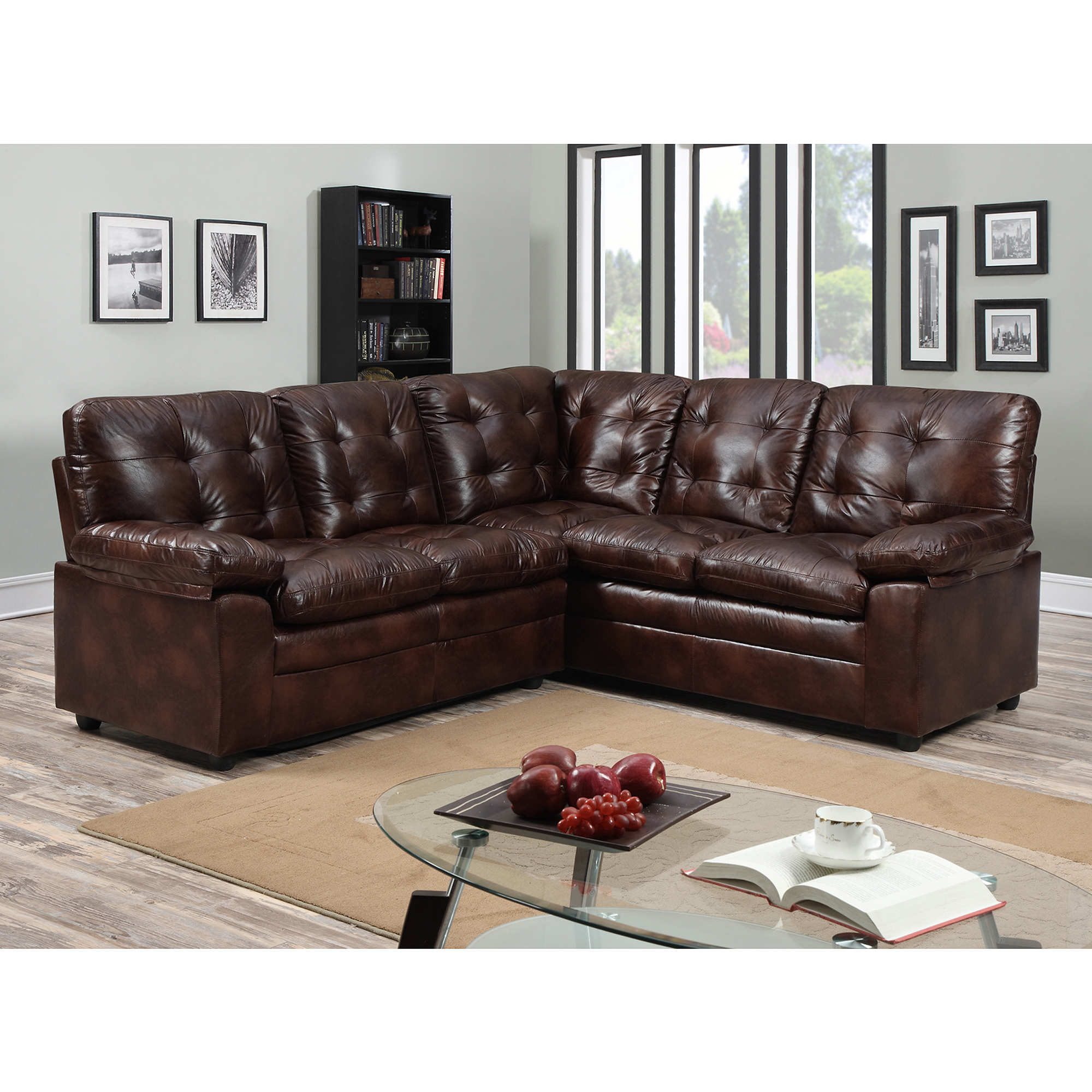 DHI Buchannan Faux Leather Corner Sectional Sofa Chestnut Box 1 of