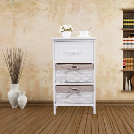 Lowestbest Night Stand with Drawer and 2 Storage Wicker Basket, White End Table Storage Cabinet, Wood Side Table for Bedroom, Living Room, Dining Room Furniture (16