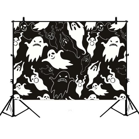 PHFZK 7x5ft Halloween Theme Backdrops, Halloween Dask Night Scary Ghosts Black and White Photography Backdrops Polyester Photo Background Studio Props (Scary Halloween Themed Backgrounds)