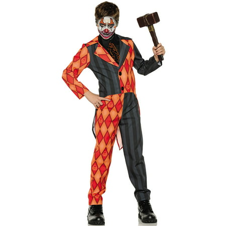 Evil Clown Tuxedo Boys Orange Black Scary Jester Halloween Costume - Scary Halloween Makeup For Men