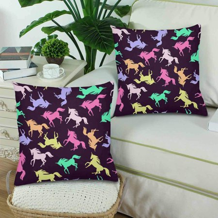 GCKG Realistic Unicorn Silhouette Seamless Pattern Pillowcase Throw Pillow Covers 18x18 inches Set of 2 - image 2 of 3