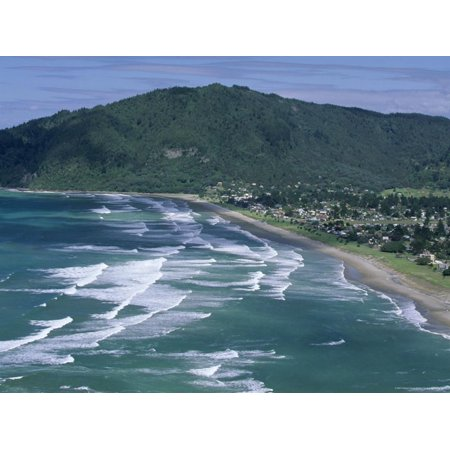 Aerial View of Surf Beach at Pauanui on East Coast, South Auckland, New Zealand Print Wall Art By Robert (Best East Coast Surfing)