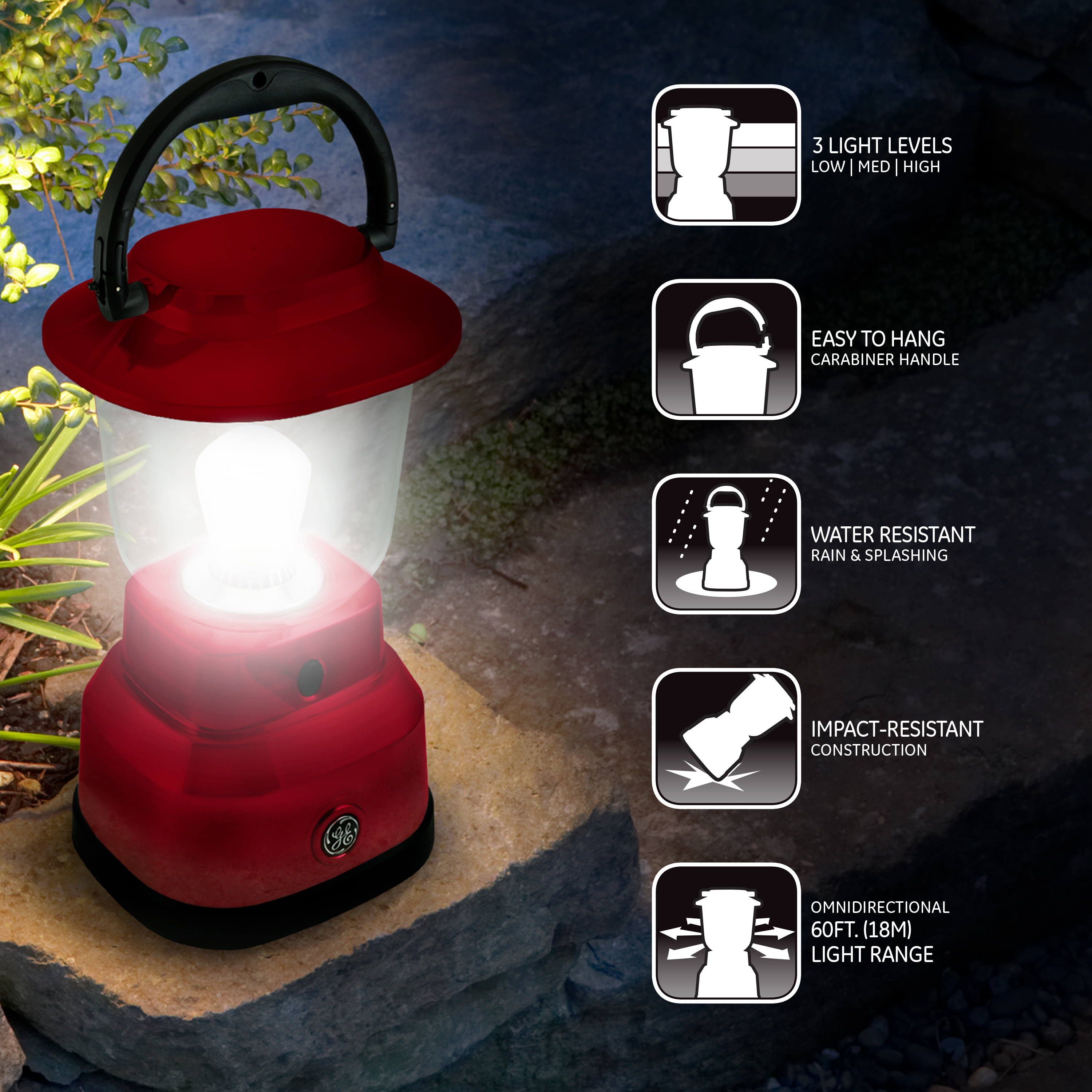 ge enbrighten outdoor led lantern usb port battery operated red rh walmart com