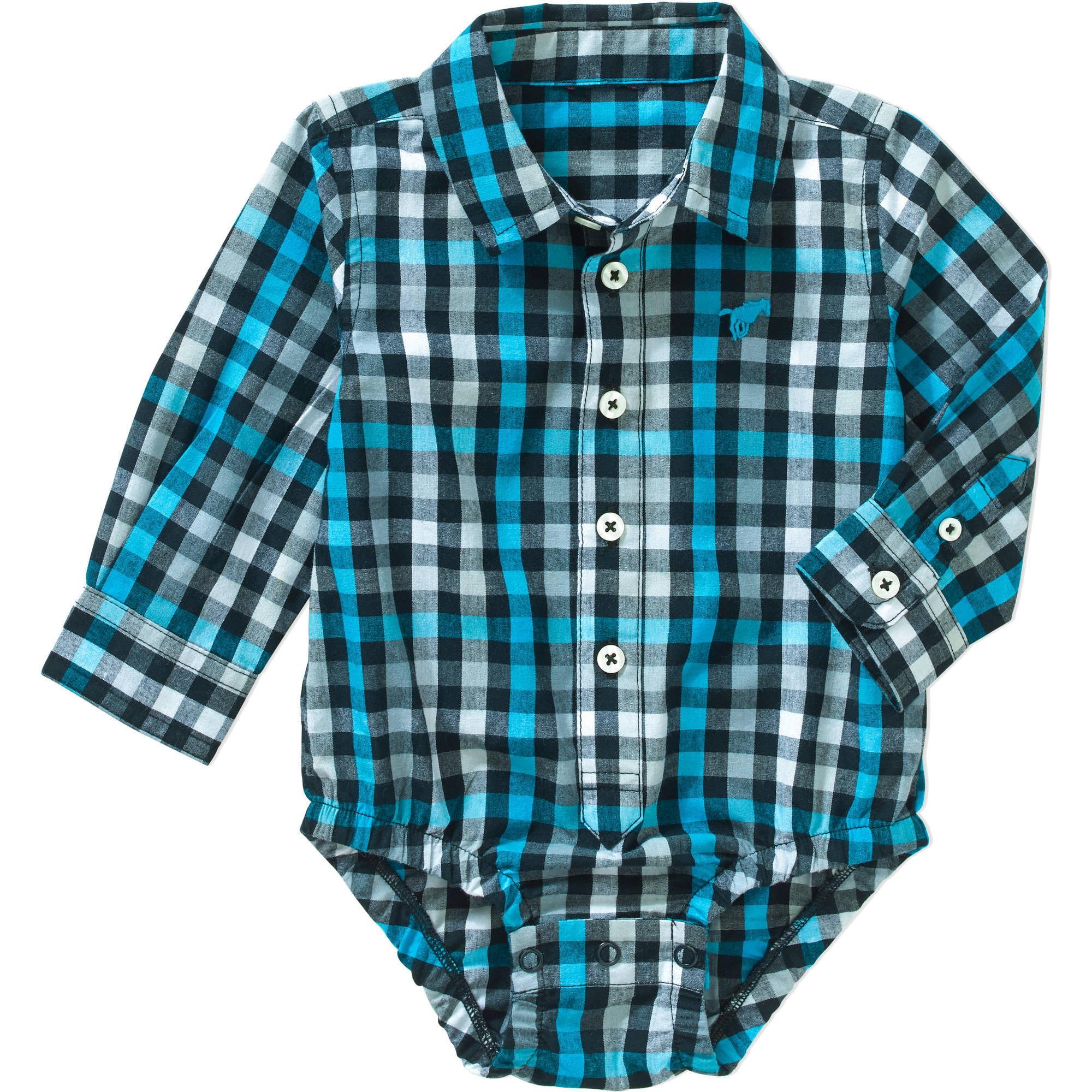 Wrangler Newborn Baby Boy Long Sleeve Woven Bodysuit