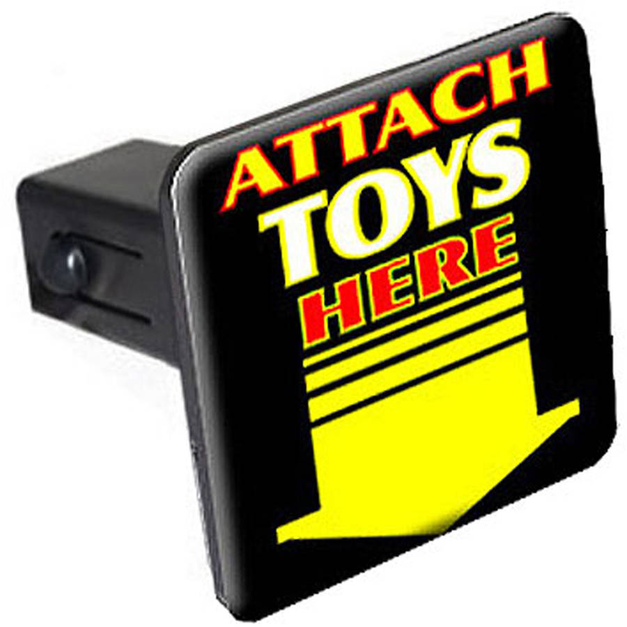"""Attach Toys Here, Arrow 1.25"""" Tow Trailer Hitch Cover Plug Insert by Graphics and More"""