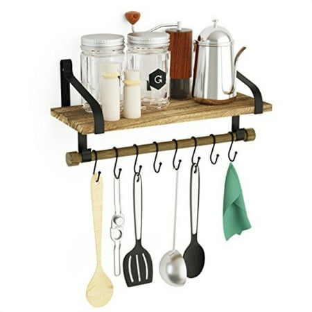 LoveKANKEI Wall Shelf for Storage Rustic Wood Kitchen Spice Rack with Towel  Bar and 8 Removable Hooks for Organize Cooking Uten