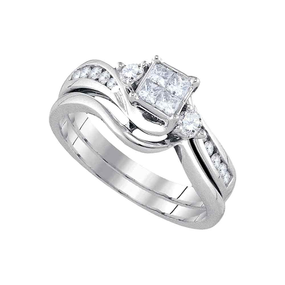 14kt White Gold Womens Diamond Princess Bridal Wedding Engagement Ring Band Set 1 2 Cttw by Saris and Things GD