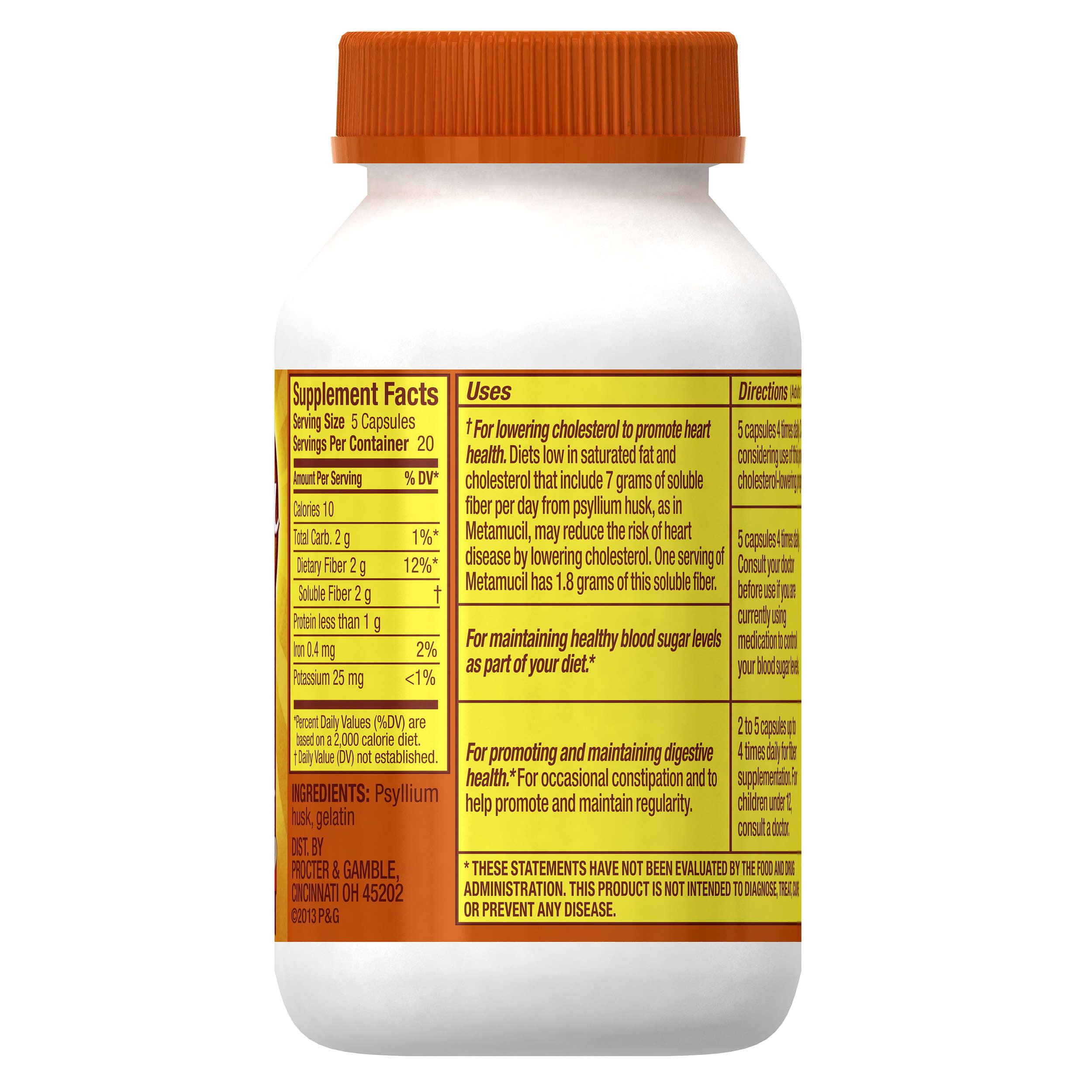 Ingredients in meta health bars - Metamucil Multi Health Fiber Capsules By Meta 100 Capsules Walmart Com