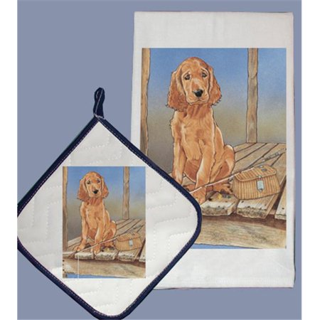 Pipsqueak Productions DP890 Dish Towel and Pot Holder Set - Irish Setter