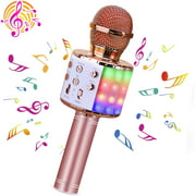 Karaoke Microphone for Kids, 4 in 1 Wireless Portable Handheld Microphone Karaoke Machine for Christmas Home Birthday Party, Voice Disguiser Karaoke Microphone(Gold)