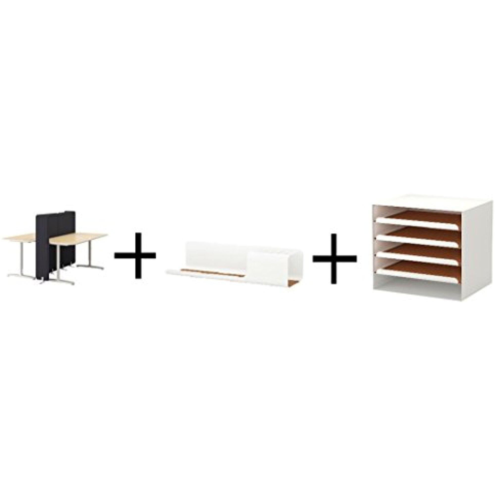 Ikea Desk with screen, birch veneer, white,Desk organizer, white