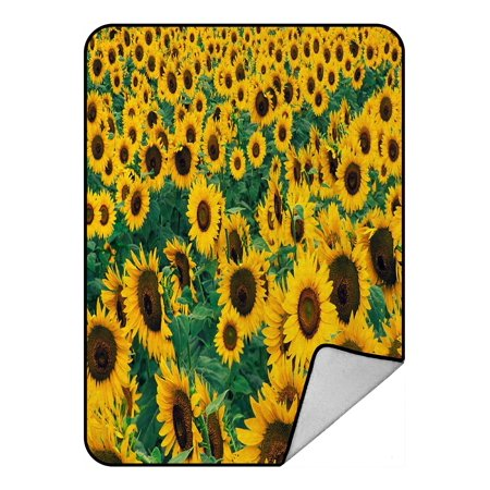 ZKGK Sunflower Lanscape Field Blanket Crystal Velvet Front and Lambswool Sherpa Fleece Back Throw Blanket 58x80inches